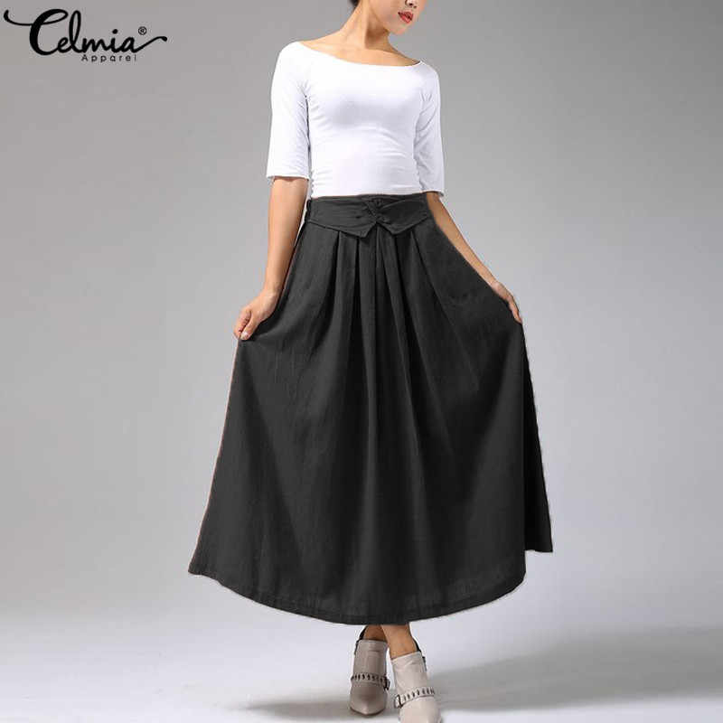 795d1253b8 2019 Celmia Women Skirts Elastic High Waist Pleated Skirts Lady Casual  A-line Skirts Cotton