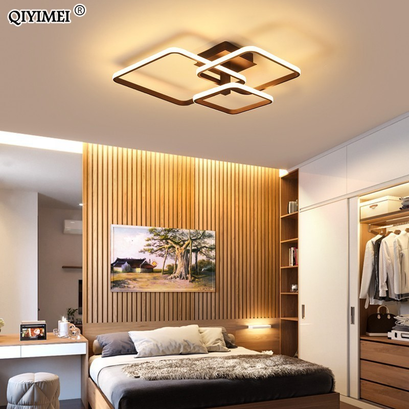 New Led Ceiling Light For Living Room Dining Bedroom Dimmable With Remote White Coffee Frame Lighting Fixture Lamparas De Techo Making Things Convenient For Customers Ceiling Lights & Fans Ceiling Lights