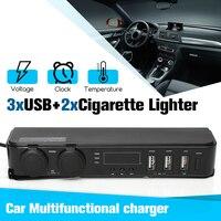 12V/24V Car Auto Cigarette Lighter Socket USB Adapter Charger +Digital Voltmeter LED 1.5A/3A 150W For Phone MP3 DVR Accessories