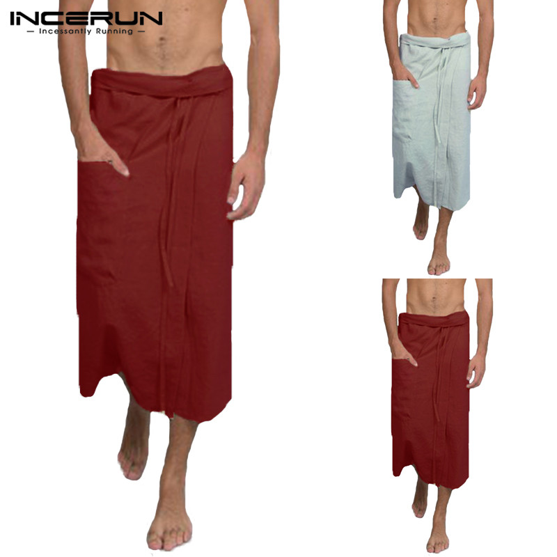 Robes Incerun Cotton Men Bathrobe Comfortable Drawstring Fashion Homewear Solid Color Comfy Beach Male Skirt Robe Men Bath Skirts 2019 Underwear & Sleepwears