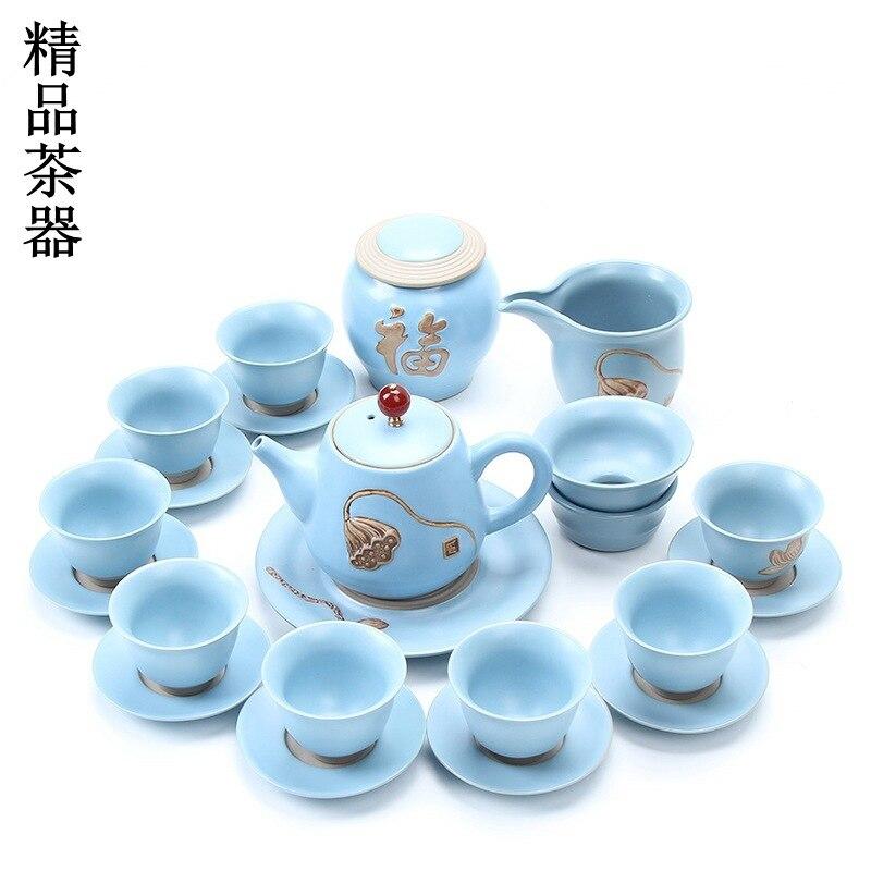 Ceramics Kung Fu Tea Have A Complete Set Suit Ru Relief Teapot Tea Tea Pot Teacup Tablemat A Complete Set Business Affairs Gift|Teaware Sets| |  - title=