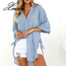 Women Blouse Long Sleeve V-neck Shirts Ladies Casual Holiday Beach Solid Drawstring Tops S-XL