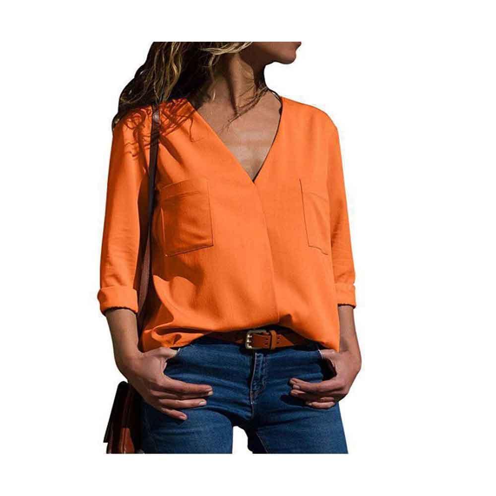 Blouses   Women Fashion 2019 Long Sleeve V-neck   Shirts   Office   Shirt   Chiffon   Blouse     Shirt   Casual   Blouse   Green/Orange/White/Black