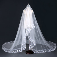 New Ivory Tulle One Layer Bridal Veil Cathedral Long Bride Wedding Veils White Fabric Petal Handmade
