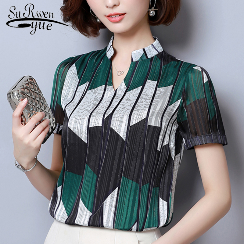 Fashion woman blouses 2019 Short Sleeve summer tops print striped Chiffon Blouse shirt plus size womens tops and blouses 2065 50