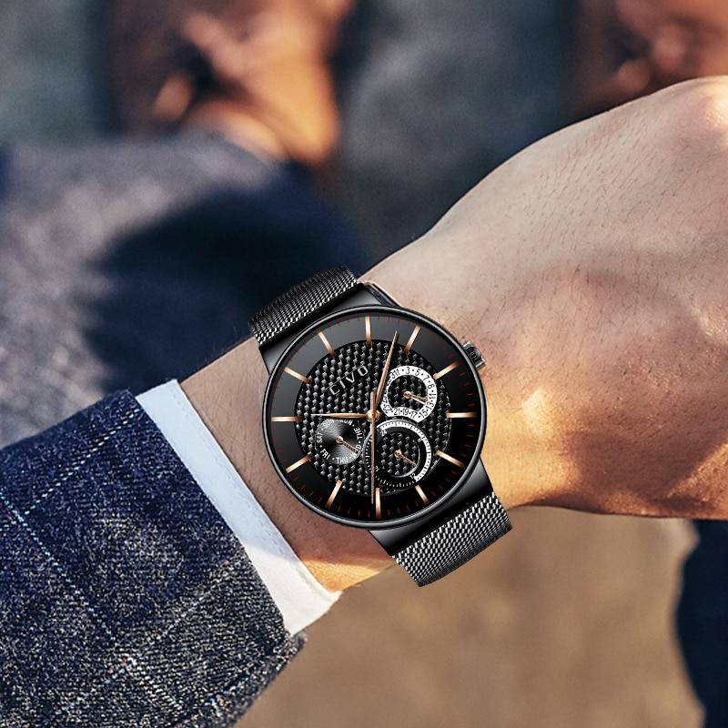 CIVO montres de luxe Quartz étanche chronographe Date montre hommes en acier maille analogique Sport affaires montre mâle horloge