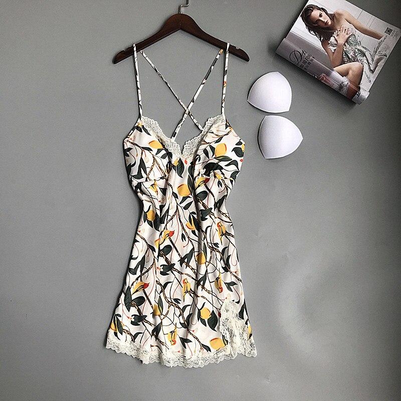 2019 Nightshirts Satin   Nightgowns   &   Sleepshirt   With Chest Pad Sleepwear Women Nightdress Silk Sexy Lingerie Nightwear