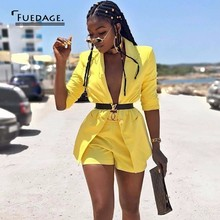 Fuedage summer Two Piece Sets 2018 Sexy Deep V Neck 2 Piece Set Women Long Sleeve