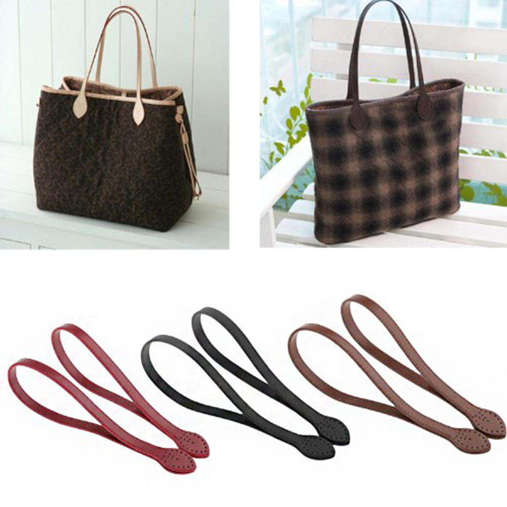 Fashion 2Pcs 60cm Bag Strap PU Leather Bag Handle Belt Shoulder Bag Handles Replacement Handbags Strap DIY Bag Accessories