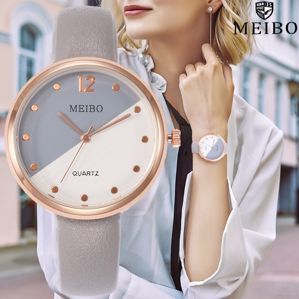 MEIBO Brand Fashion Women Watch Luxury Ladies Leather Quartz Wrist Watch Female Clock Relogio Feminino