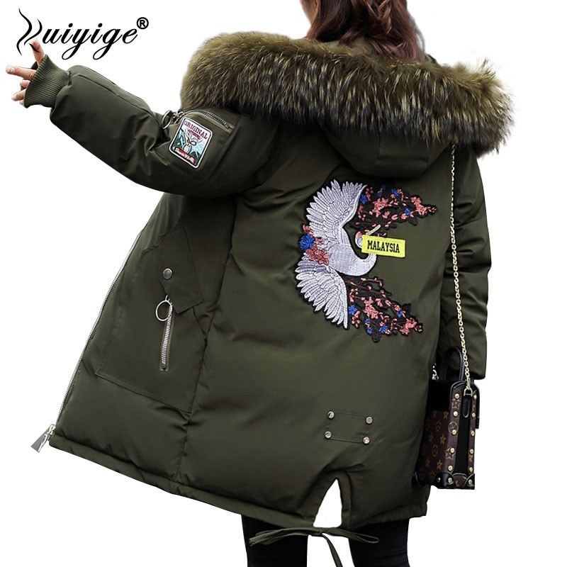 Ruiyige 2018 New Thick Hooded Jacket Women Winter Faux Fur Collar Coat Cotton Padded Overcoat Long Coats   Parkas   Hoodies Female