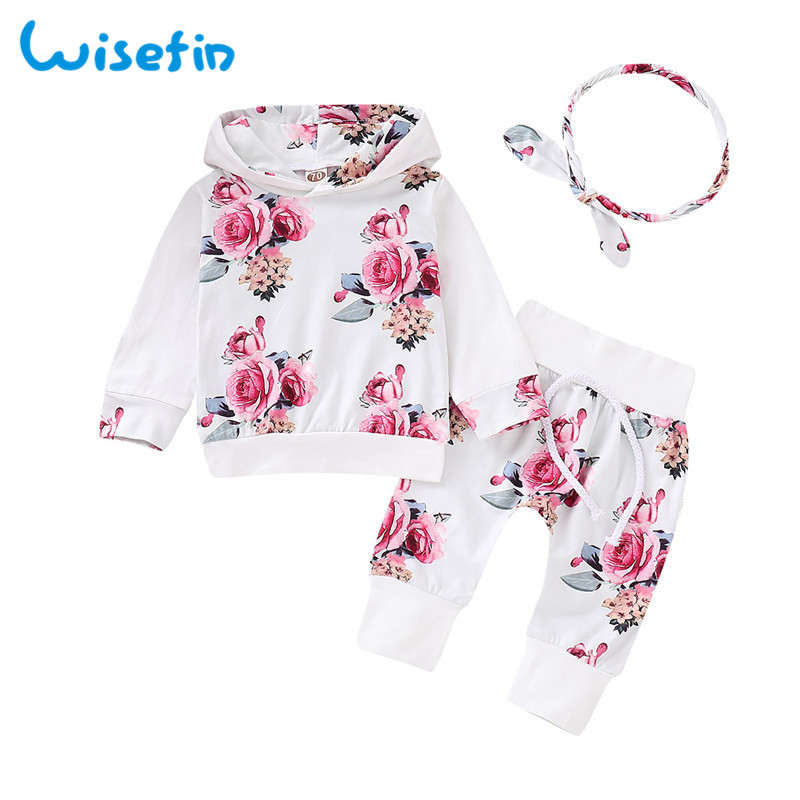 Summer Newborn Girls Clothes Set Flower Print Baby Outfits Long Sleeve Pink Cute Infant Girl Clothing Hoodies+Pants+Headband D30