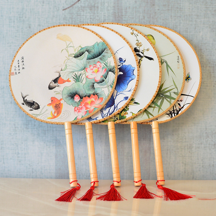 Vintage Dancing Fan Chinese Traditional Round Palace Hand Fan Stage Perform Props Home Decoration