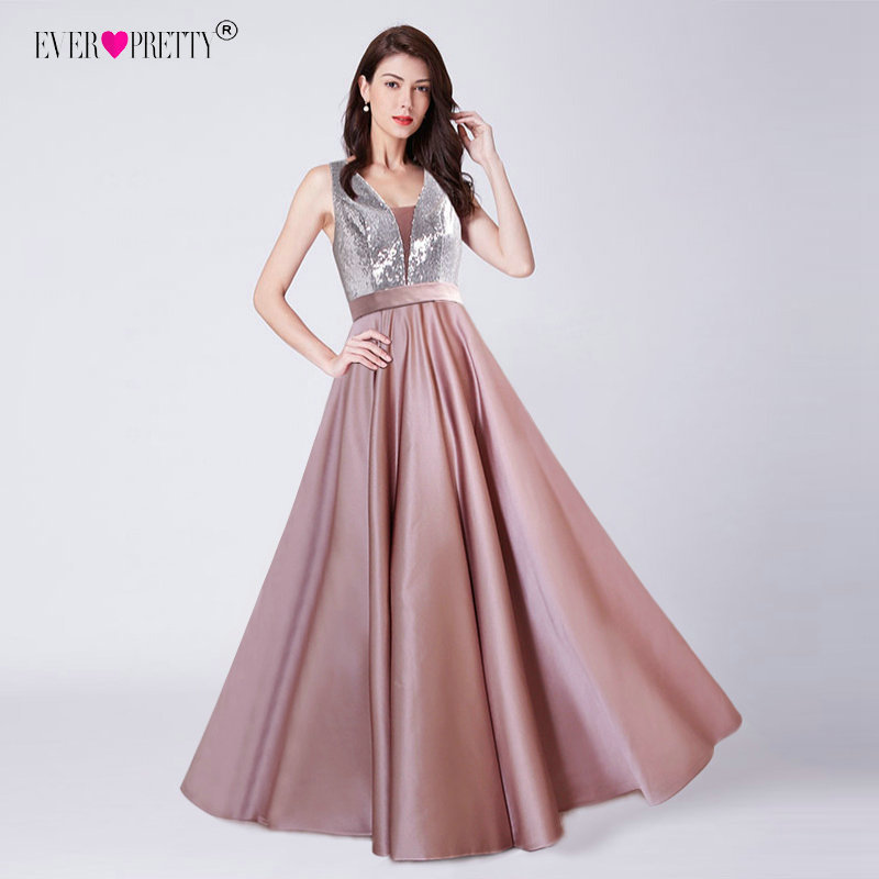 New Elegant A Line V Neck Long Prom Dresses Vestido De Festa Ever Pretty Sexy Backless Sequined Wedding Party Gowns Satin 2019