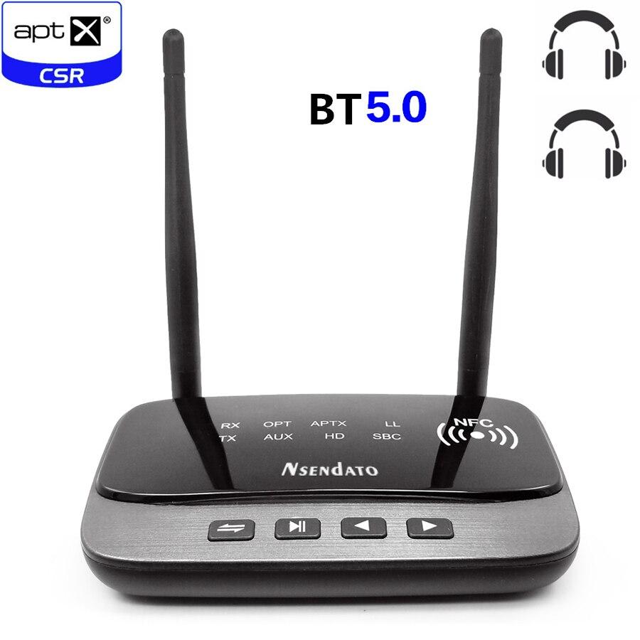 80 m longue portée bluetooth 5.0 Audio émetteur récepteur adaptateur pour TV faible latence aptX HD RCA AUX 3.5mm avec NFC
