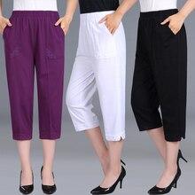 النساء سراويل كابري الصيف الإناث 2020 المرأة عالية الخصر السراويل امرأة سوداء الحلوى اللون مستقيم العجل طول السراويل حجم كبير 4XL