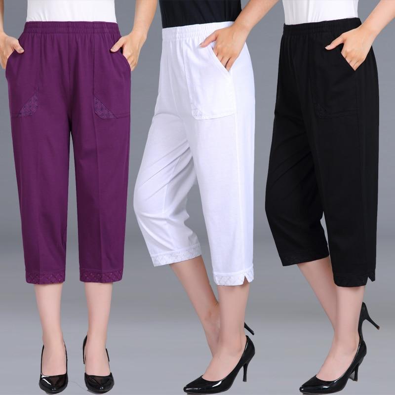 Women Capris Pants Female Summer 2019 Women's High Waist Pants Black Woman Candy Color Straight Calf-Length Pants Plus Size 4XL