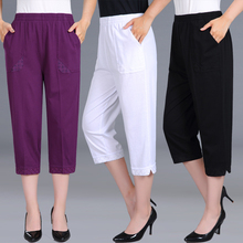 Women Capris Pants Female Summer 2020 Women #8217 s High Waist Pants Black Woman Candy Color Straight Calf-Length Pants Plus Size 4XL cheap CANVAUS COTTON Polyester L1690 Solid Casual Pleated Loose Embroidery Batik Elastic Waist Middle Aged Women Pant Plus size women clothing