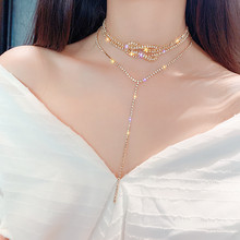 FYUAN Silver Color Button Full Rhinestone Choker Necklaces for Women Bijoux Long Crystal Pendant Necklace Statement Jewelry Gift fyuan shiny full rhinestone choker necklaces for women 2019 bijoux silver color crystal necklaces statement jewelry party gifts