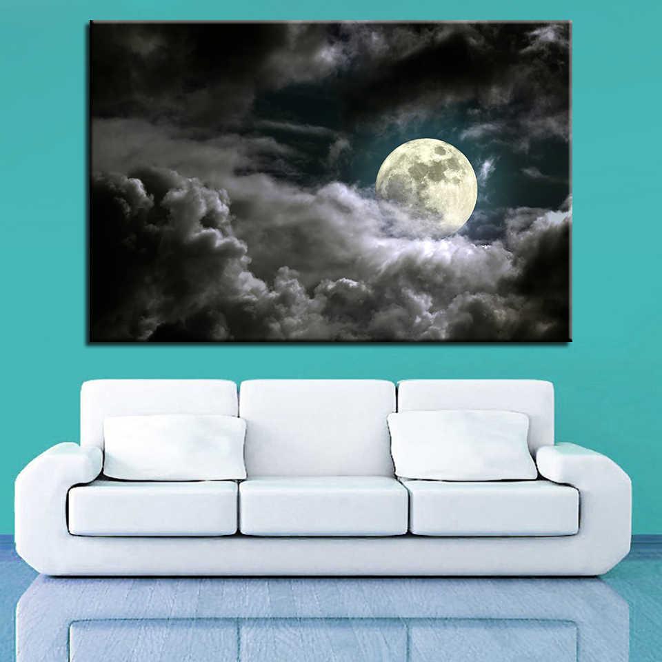 Pinturas da lona Para Parede Da Sala de Arte 1 Peça Lua Cheia Noite Fotos Névoa Nuvem Poster Home Decor Enviado 24 hora