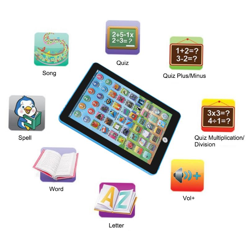 Double Language Learning Machine Kids Musical Educational Tablet Baby Toys Electronic Touch Tablet Computer For Children