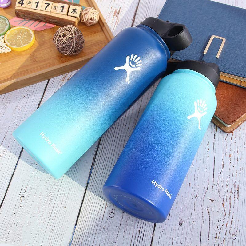 Marca tazas de 32 oz/40 oz Hydro frasco botella de agua de acero inoxidable con aislamiento de boca ancha portátil de viaje de vacío térmica. botella de botella