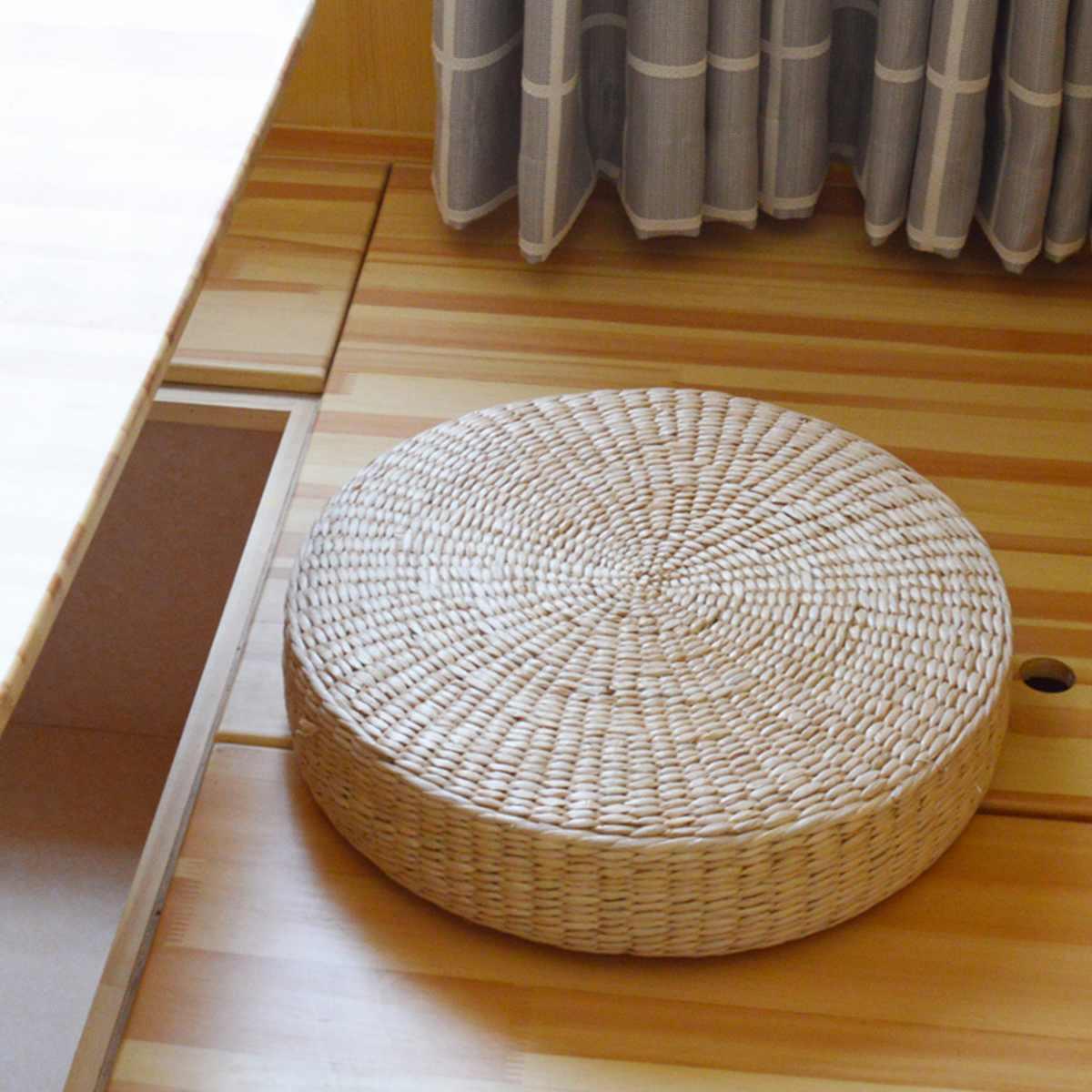 40x7.5cm 자연 짚 직조 라운드 Pouf 다다미 쿠션 바닥 쿠션 명상 요가 라운드 매트 홈 침실 의자 쿠션