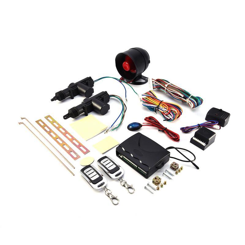 Kit de verrouillage centralisé à distance pour 2 portes de voiture + ensemble d'outils d'alarme antivol réglage automatique ou manuel de l'alarme alerte de sécurité