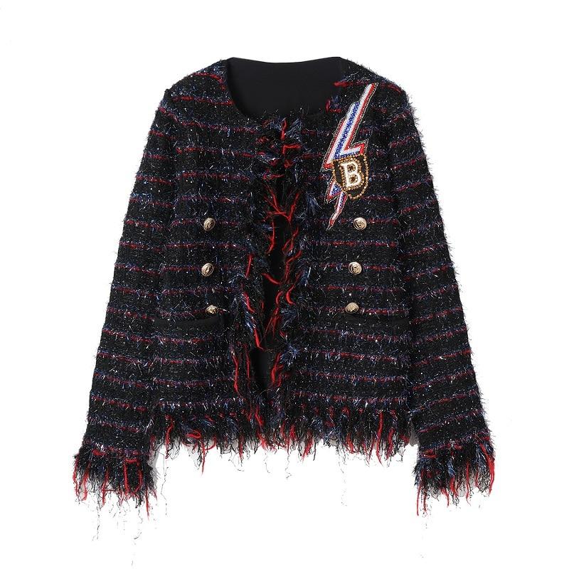 Vintage Piste Designer Vêtements Dames Casual Manches Femmes Lettre Plaid Paillettes Veste Pardessus Gland Manteau Hiver 2018 À Longues z5wqFRf