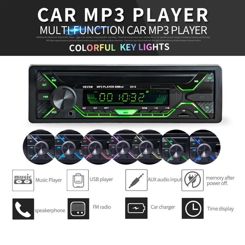Universal DC 12V Multifunction Built in Bluetooth Microphone Car Stereo Audio AUX IN SD USB MMC WMA Car Radio Player