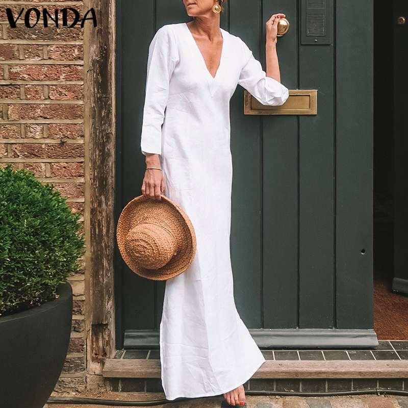 Женское сексуальное Макси длинное платье 2019 VONDA летние модные женские вечерние платья с v-образным вырезом с длинным рукавом Кафтан повседн...