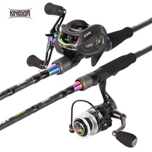 Kingdom KING II Spinning Rod Combo Baitcasting Spincasting Fishing Rods Reel set 2pc Top Section and 2pc Power Fishing Tackle cheap River Reservoir Pond Ocean Boat Fishing stream Ocean Beach Fishing Ocean Rock Fshing LAKE Rod+Reel 2 1 m Stainless Steel