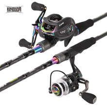 Kingdom KING II Spinning Rod Combo Baitcasting Spincasting Fishing Rods Reel set 2pc Top Section and 2pc Power Fishing Tackle - DISCOUNT ITEM  25% OFF Sports & Entertainment