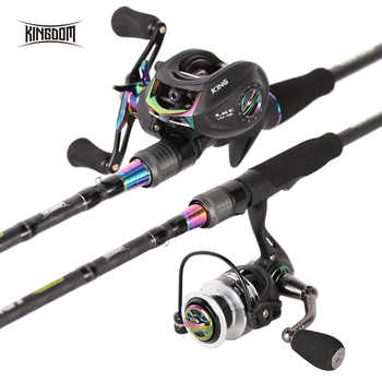 Kingdom KING II Spinning Rod Combo Baitcasting Spincasting Fishing Rods Reel set 2pc Top Section and 2pc Power Fishing Tackle