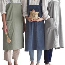 Jednokolorowy fartuch poliester klasyczny Design fartuch roboczy fartuchy do czyszczenia kuchni z kieszeń gotowanie fartuchy uniwersalny fartuch gadżet w Fartuchy od Dom i ogród na