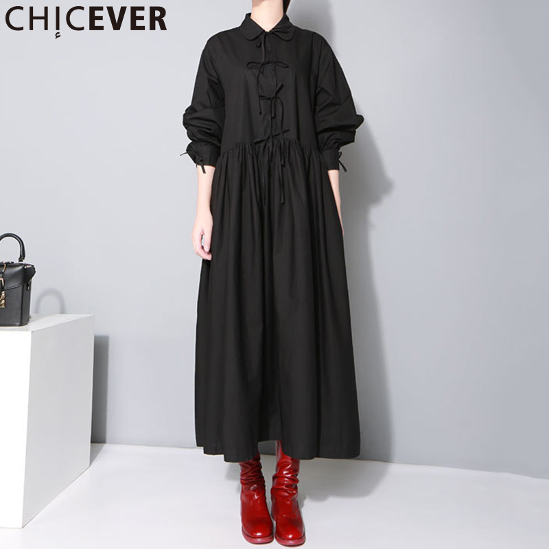 CHICEVER Big Size Lace Up Tunic Midi Shirt Dress Women Autumn 2019 Lantern Sleeve High Waist Black Dresses Female Casual Clothes