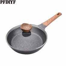 20-28 CM Medical Stone Non-stick Frying Pan New Pancake Steak Pan No fumes with/without cover Use for Gas & Induction Cooker
