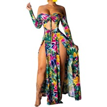 Women Off Shoulder Dress Strapless Floral Print Bodycon Party High Slit Maxi Dress Asymmetrical Summer Beach Sexy Dress