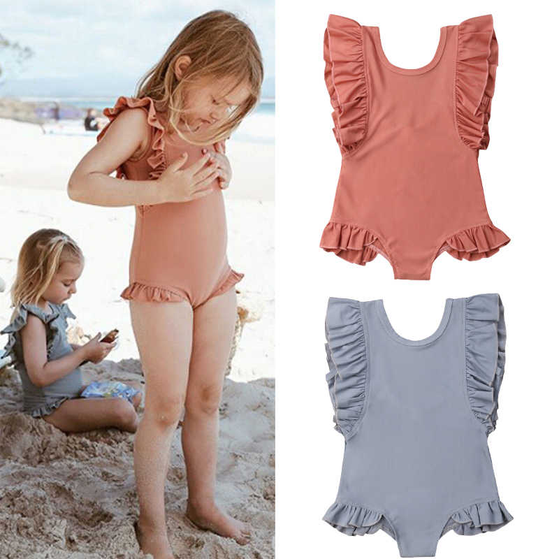 6041cba3bf Holiday Cute Toddler Kids Baby Girl Swimwear Ruffles Sleeve Solid Jumpsuits Summer  Swimsuit Bathing Suit Swimming