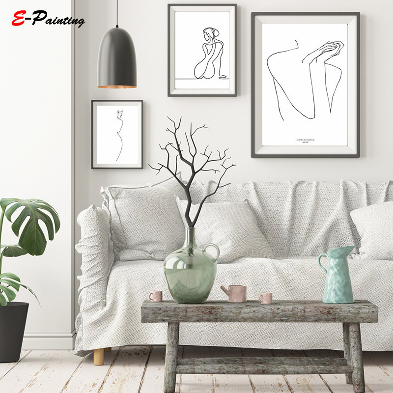 Modern Wall Art Line Drawing Sketch Female Fugure Naked Woman Minimalist Nude Art Pencile Drawing Living Room Home Decor gold metal duvar saati