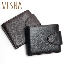 Vesna Short Wallet Black Color Man Vintage With Button Mens Genuine Leather Retro Wallets