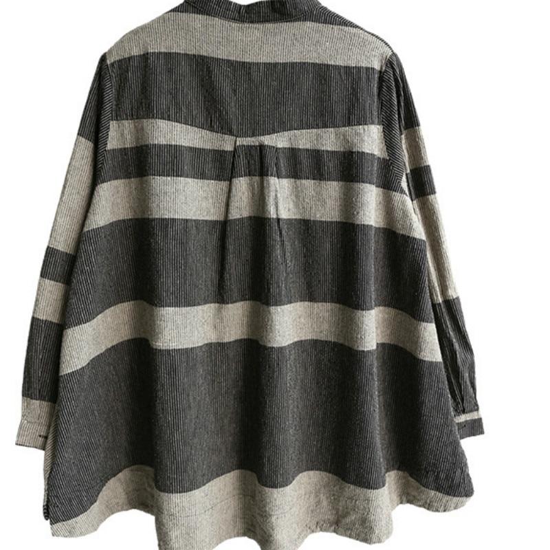 Femmes Tops Femininas Longues Black Montant Coton Blouses Plus Size Chemisier Mode Blusas kahki À Chemise Occasionnel Lin Col red 2018 Manches OrXTUO