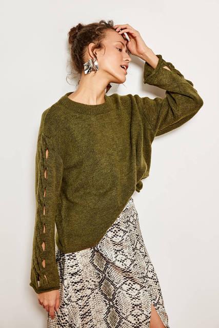 Trendyol קלוע סרוג סוודר חאקי ידית TCLAW19AN0012