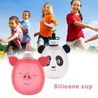 Child Panda Silicone Water Bottle Bag Collapsible Pig Folding Kettle Kids Outdoor Sports Portable Leak Proof Travel Drink Bottle
