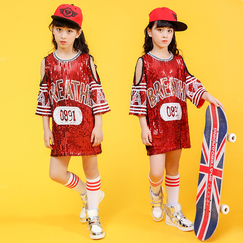 Songyuexia Girl Jazz Dance Sequins Performance Clothing Children Stage Dance ClothesChildren Jazz Hip-Hop Modern Stage Dancewear