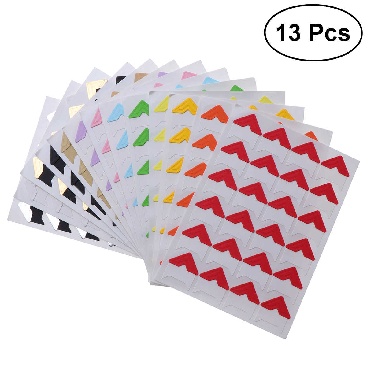 13 Sheets Photo Corner Stickers for Scrapbook Album Diary DIY Corner Protection Paster (Multicolor)