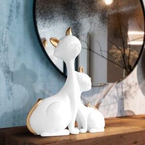 Image 3 - 수 지 고양이 인형 미니어처 장식 동물 데스크탑 선물 고양이 동상 장식품 홈 장식 카사 거실 액세서리
