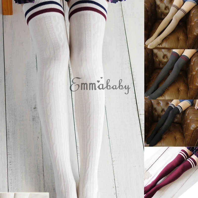 Sexy Medias Fashion Striped Knee Socks Women Casual Thigh High Over The Knee Stockings for Ladies Girls 2019 Warm Long Stocking