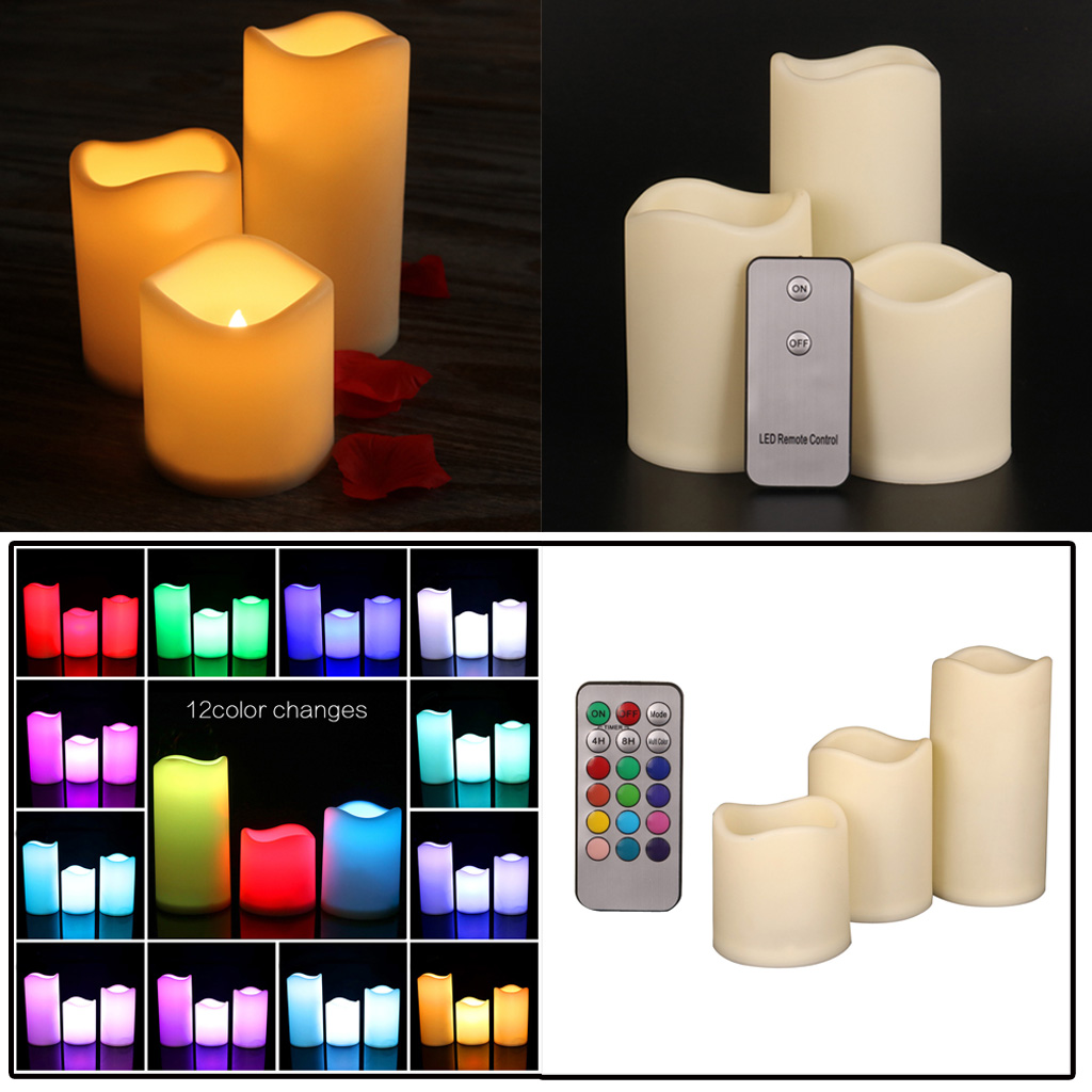 3PCS Flameless Wax LED Flickering Candles Battery Mood Lights with Remote Controller Воск