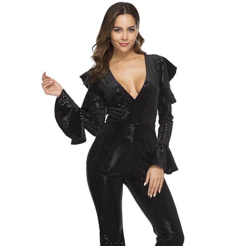 MUXU блестящий черный комбинезон с блестками Боди женское боди Женский комбинезон сексуальные комбинезоны длинные рукава вечерние Клубные боди костюм